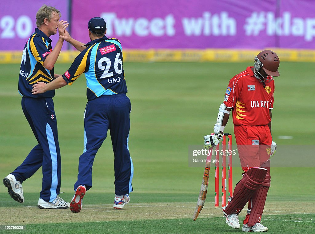 Steve Patterson of Yorkshire celebrates the wicket of <a gi-track='captionPersonalityLinkClicked' href=/galleries/search?phrase=Shivnarine+Chanderpaul&family=editorial&specificpeople=206755 ng-click='$event.stopPropagation()'>Shivnarine Chanderpaul</a> for 27 during the Karbonn Smart CLT20 pre-tournament Qualifying Stage match between Yorkshire (England) and Uva Next (Sri Lanka) at Bidvest Wanderers Stadium on October 09, 2012 in Johannesburg, South Africa.