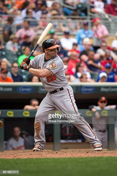 Steve Pearce of the Baltimore Orioles bats against the Minnesota Twins on July 8 2015 at Target Field in Minneapolis Minnesota The Twins defeated the...