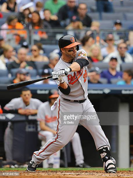 Steve Pearce of the Baltimore Orioles bats against the New York Yankees during their game at Yankee Stadium on May 9 2015 in New York City