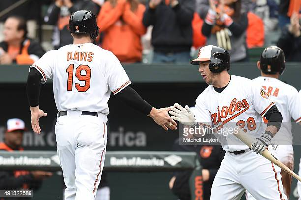 Steve Pearce of the Baltimore Orioles congratulates Chris Davis on scoring on a Matt Wieters two run single in the first inning during a baseball...