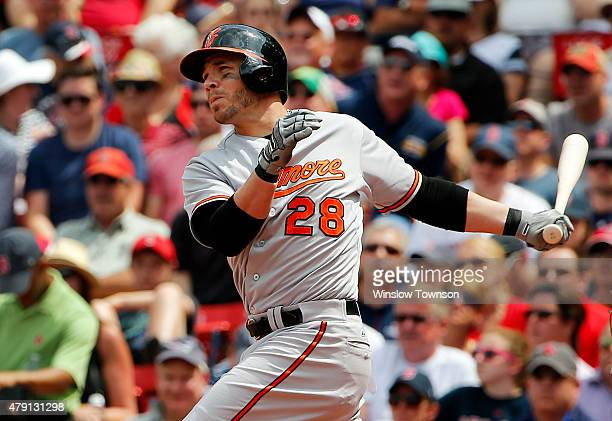 Steve Pearce of the Baltimore Orioles during the fourth inning in a game against the Boston Red Sox at Fenway Park on June 25 2015 in Boston...