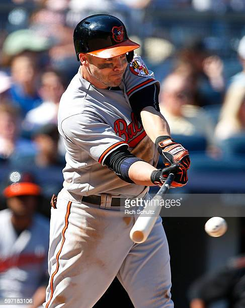 Steve Pearce of the Baltimore Orioles hits an RBI single during the seventh inning of a game at Yankee Stadium on August 28 2016 in the Bronx borough...
