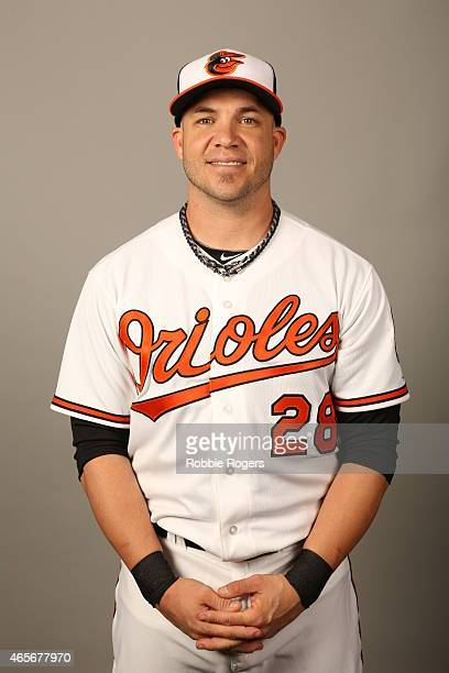 Steve Pearce of the Baltimore Orioles poses during Photo Day on Sunday March 1 2015 at Ed Smith Stadium in Sarasota Florida