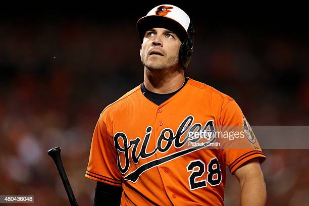 Steve Pearce of the Baltimore Orioles reacts after striking out in the eighth inning against the Washington Nationals at Oriole Park at Camden Yards...