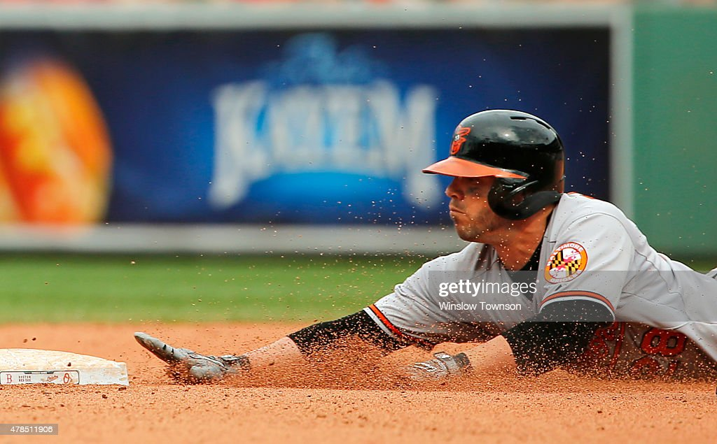 Steve Pearce #28 of the Baltimore Orioles slides into second base with a double during the eighth inning in a game against the Boston Red Sox at Fenway Park on June 25, 2015 in Boston, Massachusetts.