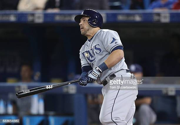 Steve Pearce of the Tampa Bay Rays hits an RBI double in the first inning during MLB game action against the Toronto Blue Jays on May 17 2016 at...