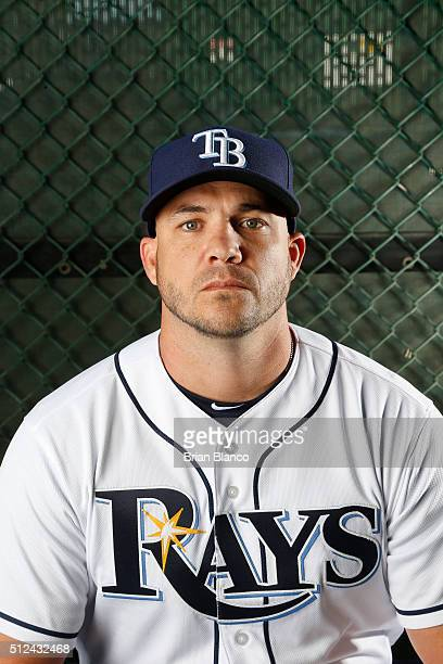 Steve Pearce of the Tampa Bay Rays poses for a photo during the Rays' photo day on February 25 2016 at Charlotte Sports Park in Port Charlotte Florida