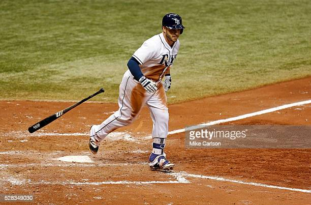 Steve Pearce of the Tampa Bay Rays reacts after hitting a threerun home run during the sixth inning of a game against the Los Angeles Dodgers at...