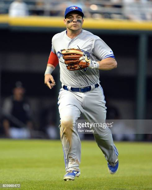 Steve Pearce of the Toronto Blue Jays bats against the Chicago White Sox on August 1 2017 at Guaranteed Rate Field in Chicago Illinois