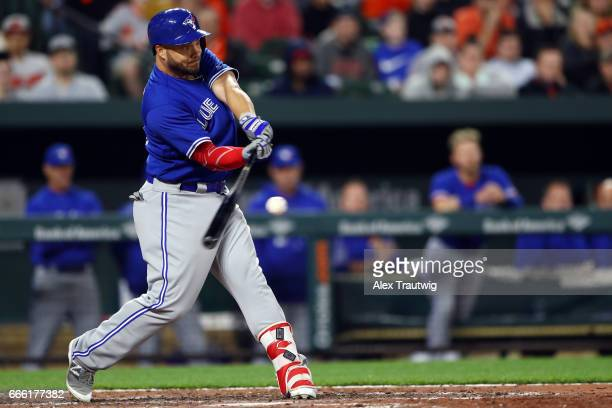 Steve Pearce of the Toronto Blue Jays bats during the game against the Baltimore Orioles at Oriole Park at Camden Yards on Wednesday April 5 2017 in...