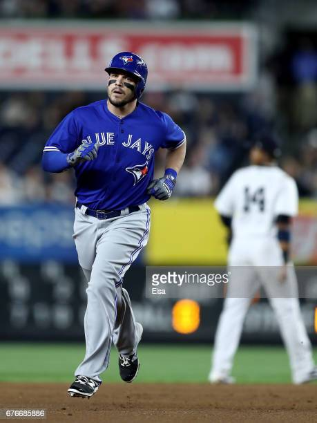Steve Pearce of the Toronto Blue Jays rounds third base after he hit a solo home run in the fifth inning against the New York Yankees on May 2 2017...