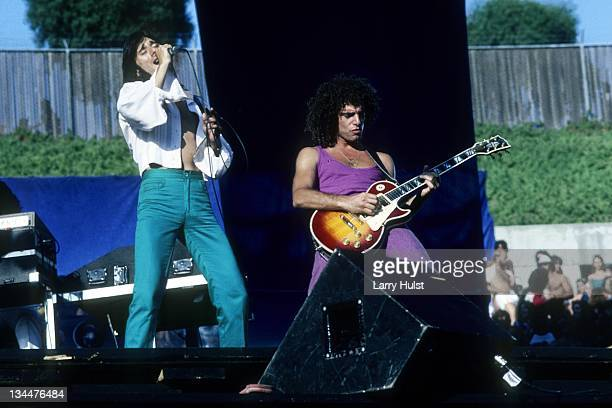 Steve Perry and Neal Schon performing with 'Journey' at the Oakland Coliseum in Oakland California on July 27 1980