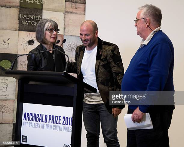Steve Peters Head of the Art Gallery of NSW congratulates Betina FauvelOgden and George Calombaris following the announcement of the Packing Room...