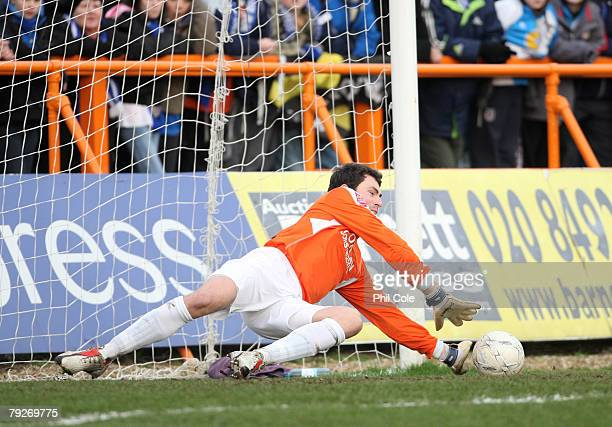 Steve Phillips Goalkeeper for Bristol Rovers saves a penalty during the FA Cup sponsored by Eon 4th Round match between Barnet and Bristol Rovers at...