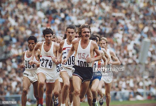 Steve Prefontaine of the United States leads Ian Stewart and David Bedford of Great Britain and Mohamed Gammoudi of Tunisia during the Men's 5000...