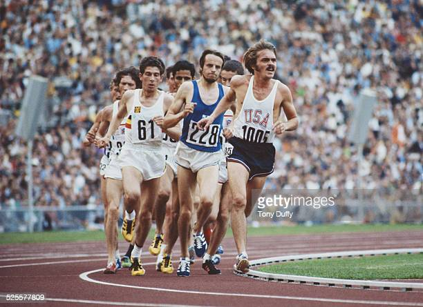 Steve Prefontaine of the United States leads Lasse Viren of Finland and Emiel Puttemans of Belgium during the Men's 5000 metres event at the XX...