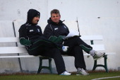 Steve Rhodes the Director of cricket of Worcestershire looks on during the pre season 50 overs friendly match between Worcestershire and...