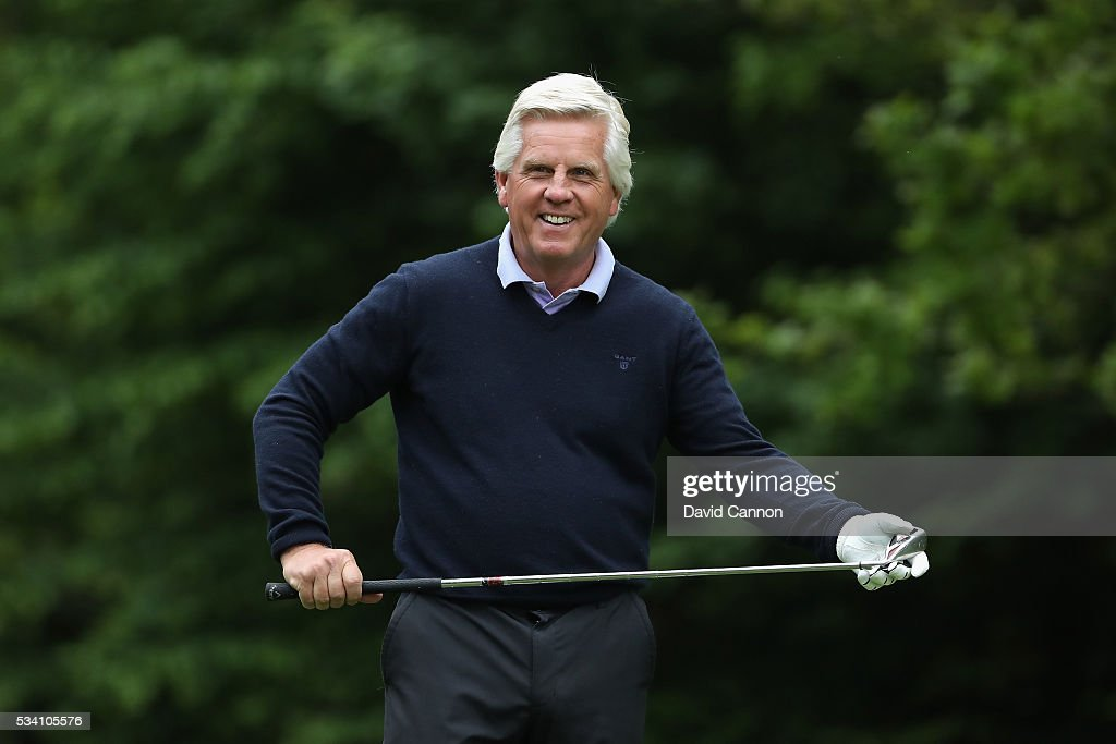 Steve Rider reacts during the Pro-Am prior to the BMW PGA Championship at Wentworth on May 25, 2016 in Virginia Water, England.