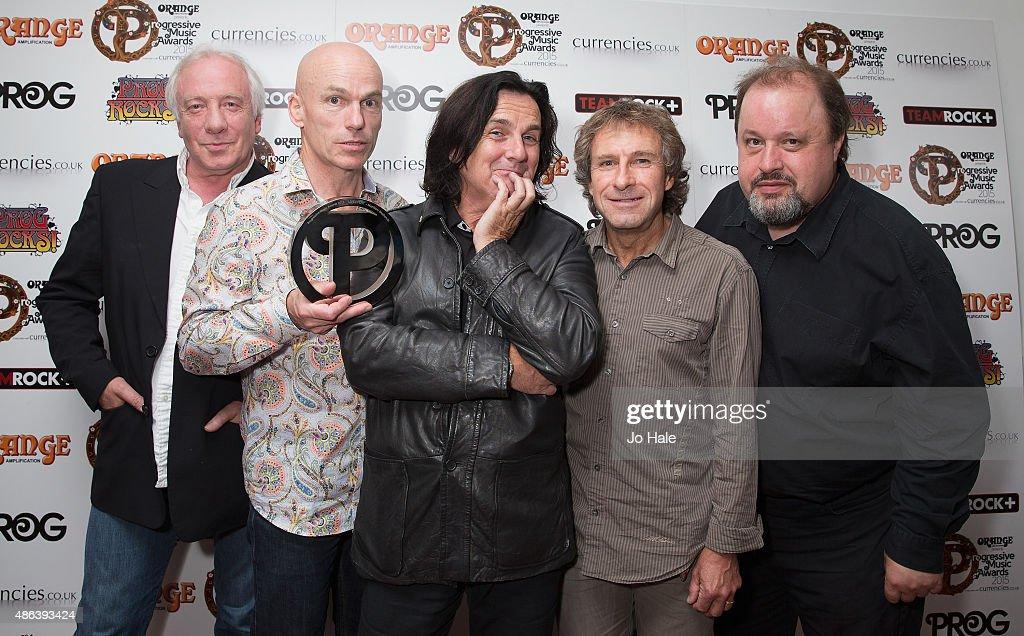 Steve Rothery, Mark Kelly, Steve Hogarth, Pet Trewavas and Ian Mosley of Marillion win Live Event Award at the Progressive Music Awards at Underglobe on September 3, 2015 in London, England.