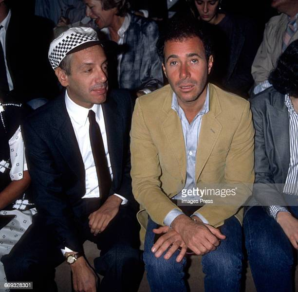 Steve Rubell and David Geffen attend the Calvin Klein Fall 1985 Fashion Show circa 1985 in New York City