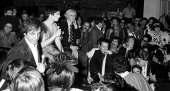 Steve Rubell Liza Minnelli Bianca Jagger Andy Warhol and Halston attend First Anniversary Party for Studio 54 on April 26 1978 at Studio 54 in New...