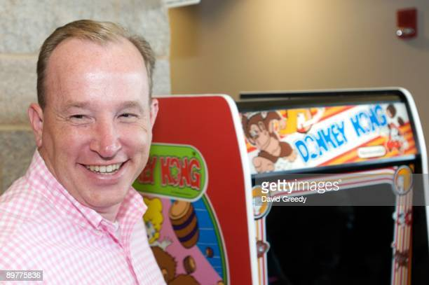 Steve Sanders 'The Orignal King of Kong' prepares to play Donkey Kong at the launch party for the International Video Game Hall of Fame and Museum on...
