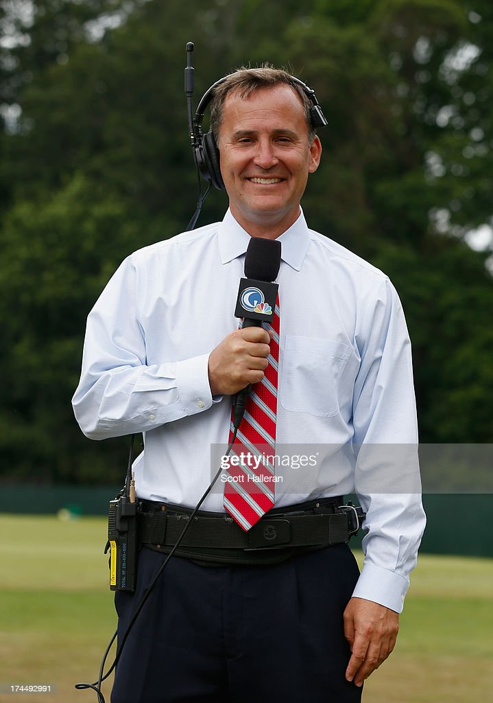 Steve Sands of the Golf Channel poses on the practice ground before the start of the final round of the 113th U.S. Open at Merion Golf Club on June 16, 2013 in Ardmore, Pennsylvania.