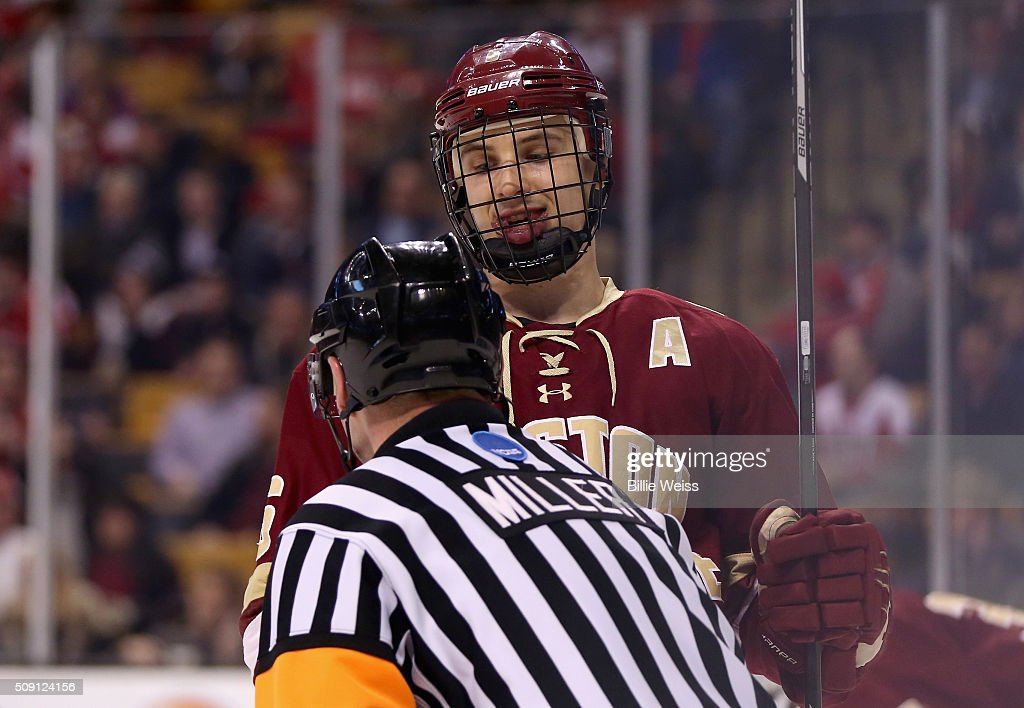 Steve Santini #6 of Boston College reacts with the referee during the first period of the Beanpot Tournament championship game against Boston University at TD Garden on February 8, 2016 in Boston, Massachusetts.