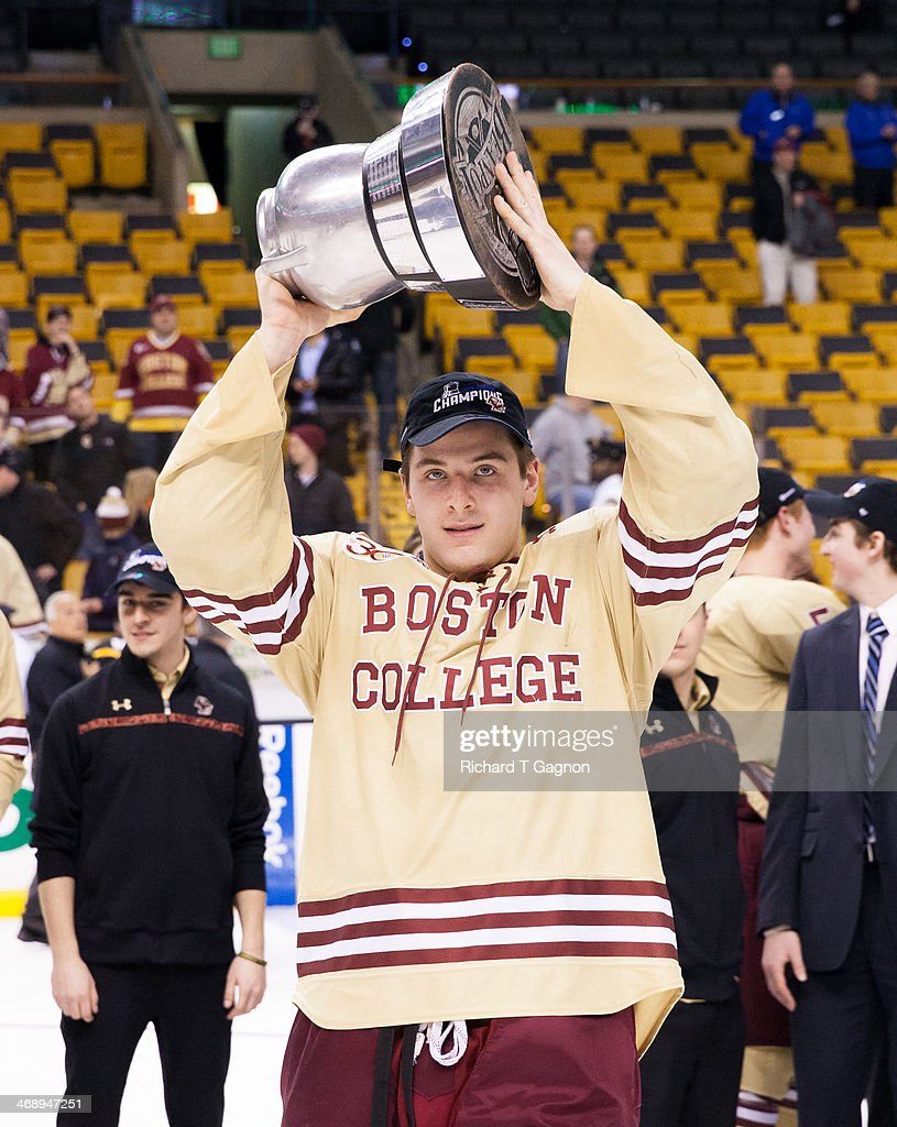 Steve Santini of the Boston College Eagles celebrates after the Eagles beat the Northeastern University Huskies to win their fifth Beanpot...