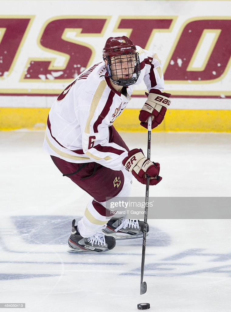 Steve Santini of the Boston College Eagles controls the puck against the New Hampshire Wildcats during NCAA hockey action at Kelley Rink on December...