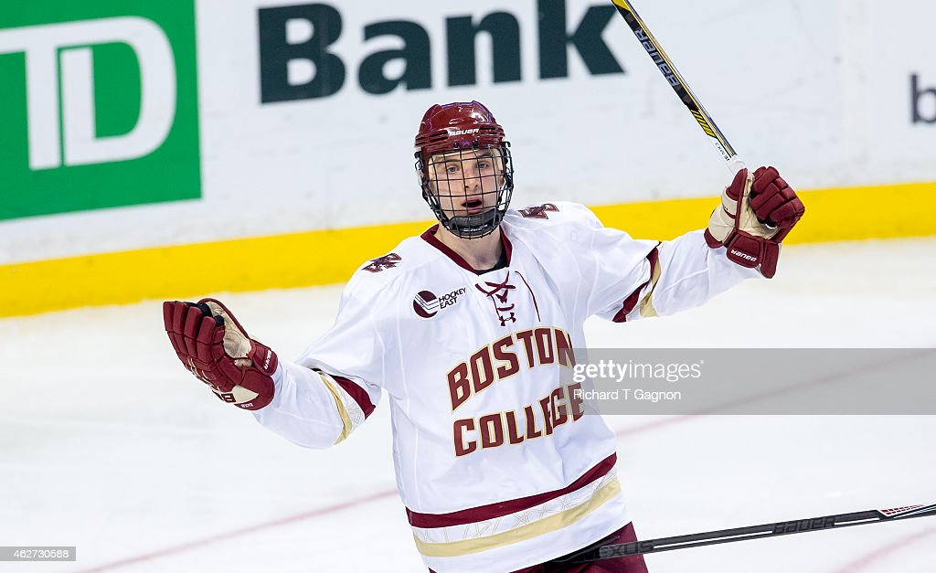 Steve Santini of the Boston College Eagles signals to the officials during NCAA hockey against the Northeastern Huskies in the semifinals of the...