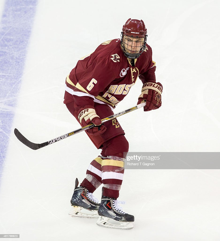 Steve Santini of the Boston College Eagles skates against the Boston University Terriers during NCAA hockey at Agganis Arena on January 16 2015 in...