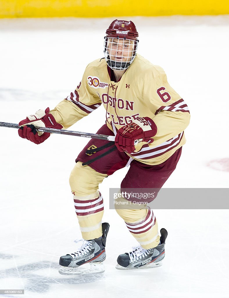 Steve Santini of the Boston College Eagles skates against the Denver Pioneers during the NCAA Division I Men's Ice Hockey Northeast Regional...