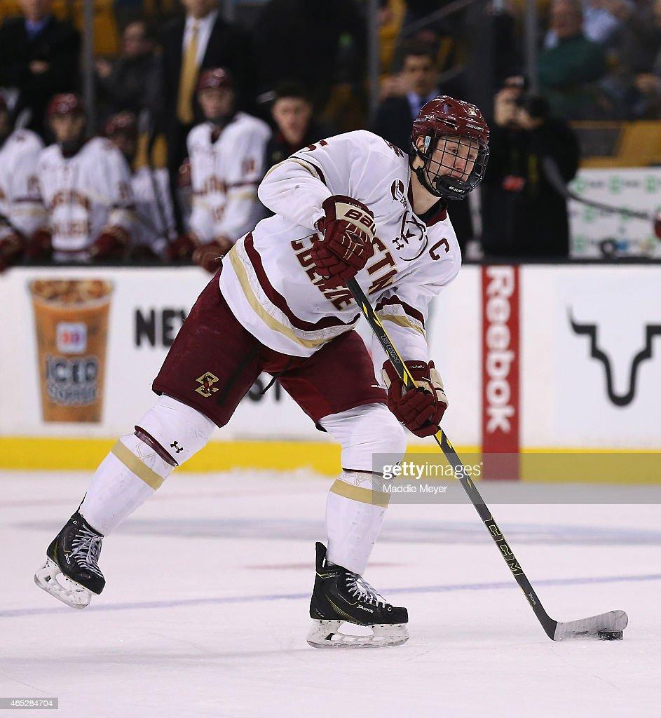 Steve Santini of the Boston College Eagles skates against the Harvard Crimson during the 2015 Beanpot Tournament consolation game at TD Garden on...