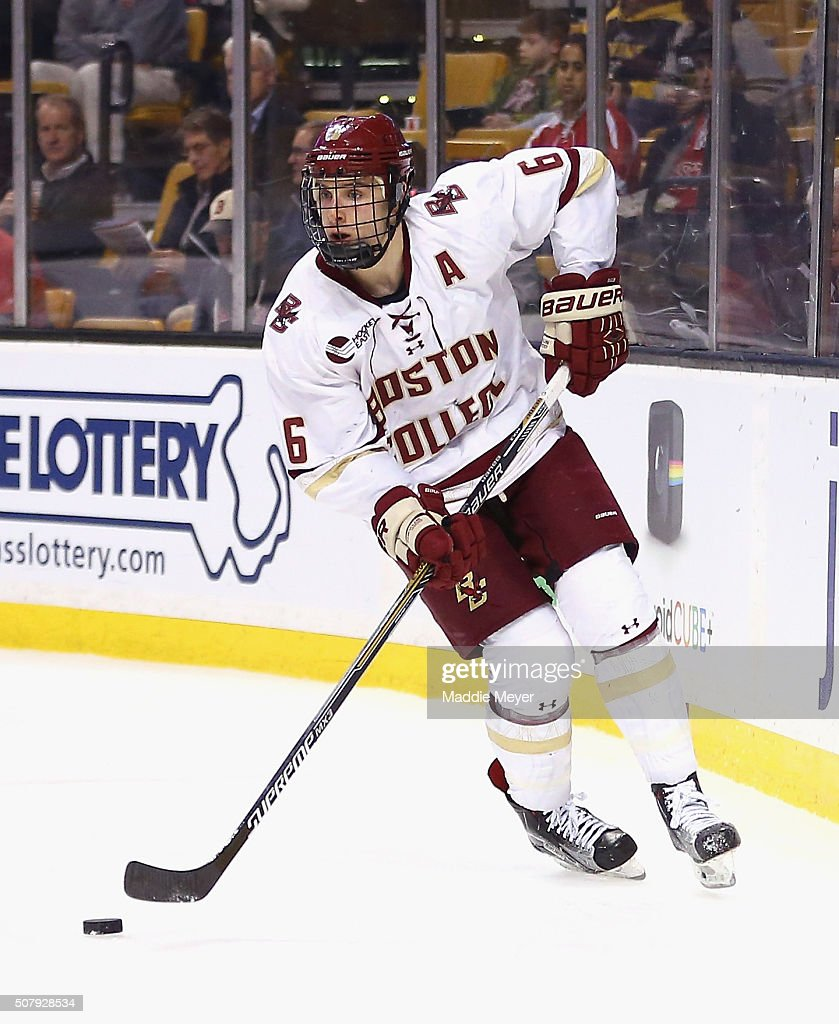 Steve Santini of the Boston College Eagles skates against the Harvard Crimson during the second period at TD Garden on February 1 2016 in Boston...