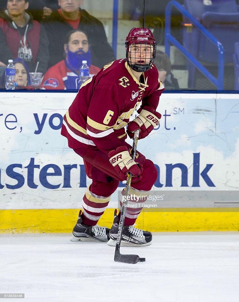 Steve Santini of the Boston College Eagles skates against the Massachusetts Lowell River Hawks during NCAA hockey at the Tsongas Center on February...