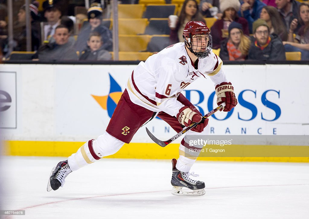 Steve Santini of the Boston College Eagles skates against the Northeastern Huskies during NCAA hockey in the semifinals of the annual Beanpot Hockey...