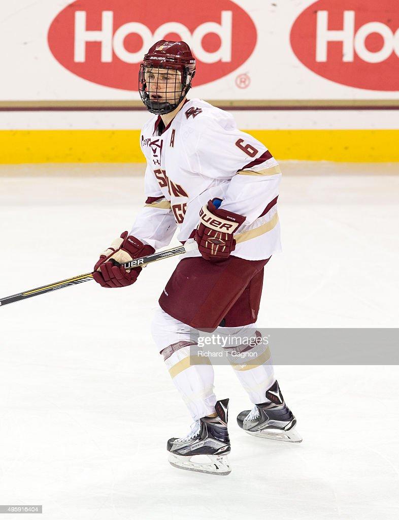 Steve Santini of the Boston College Eagles skates against the Massachusetts Minutemen during NCAA hockey at Kelley Rink on November 3 2015 in...