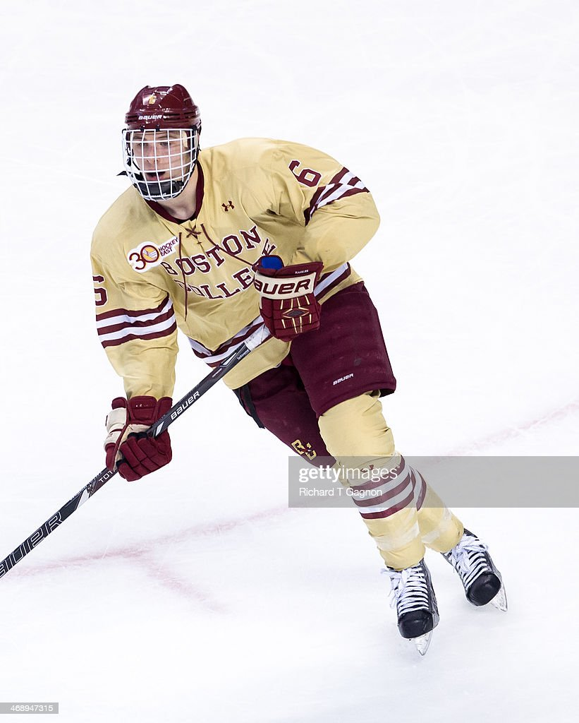 Steve Santini of the Boston College Eagles skates against the Northeastern University Huskies during NCAA hockey action in the championship game of...