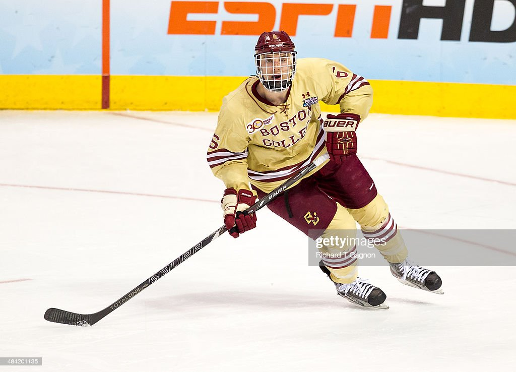 Steve Santini of the Boston College Eagles skates against the Union College Dutchmen during the NCAA Division I Men's Ice Hockey Frozen Four...