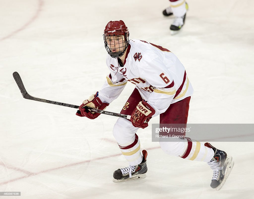 Steve Santini of the Boston College Eagles skates against the Vermont Catamounts during NCAA hockey at Kelley Rink on February 13 2015 in Chestnut...