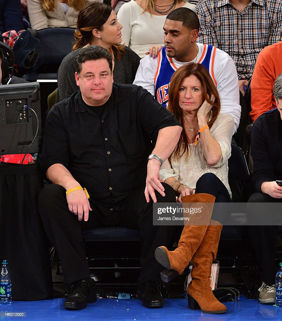 Steve Schirripa and Laura Schirripa attend the Atlanta Hawks vs New York Knicks game at Madison Square Garden on January 27, 2013 in New York City.