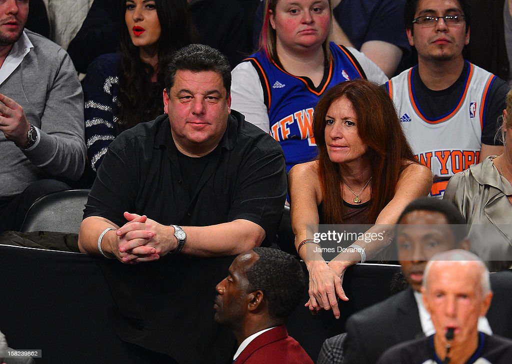 Steve Schirripa (L) attends the New York Knicks vs Brooklyn Nets game at Barclays Center on December 11, 2012 in the Brooklyn borough of New York City.