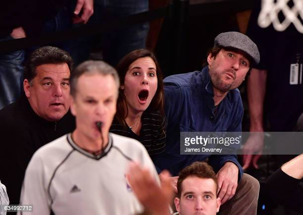 Steve Schirripa guest and Luke Wilson attend the San Antonio Spurs Vs New York Knicks game at Madison Square Garden on February 12 2017 in New York...