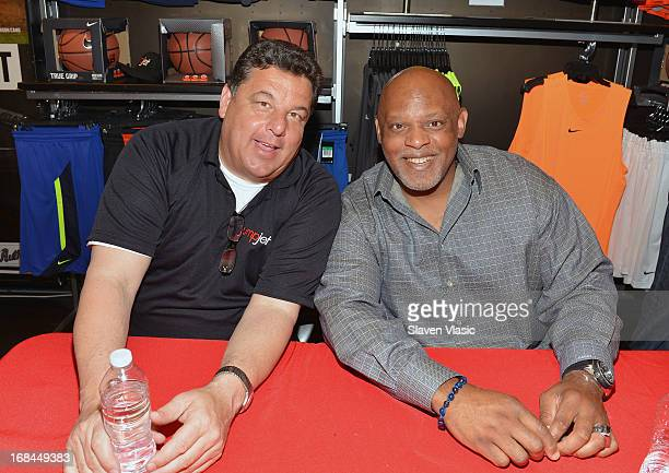 Steve Schrippa and Cecil Fielder attend 'Joey Glick' LookALike contest at Modell's Sporting Goods Store on May 9 2013 in New York City