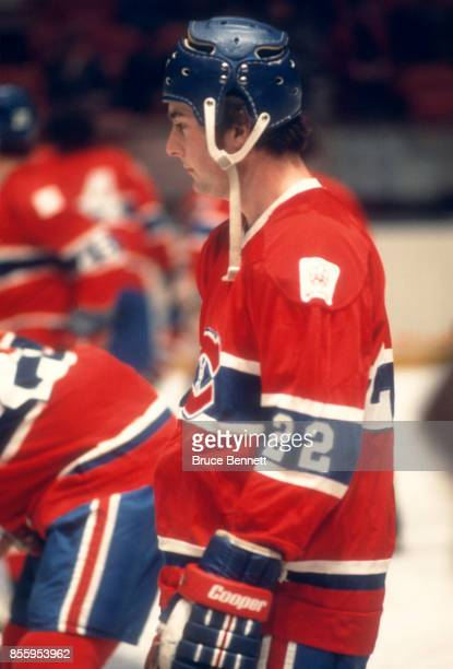 Steve Shutt of the Montreal Canadiens skates on the ice during warmups before an NHL game against the New York Rangers on February 29 1976 at the...