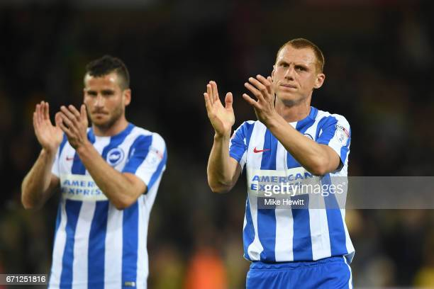 Steve Sidwell of Brighton and Hove Albion applauds supporters during the Sky Bet Championship match between Norwich City and Brighton Hove Albion at...