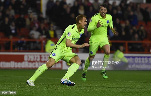 Steve Sidwell of Brighton and Hove Albion celebrates scoring his teams winning goal during Sky Bet Championshipon match between Nottingham Forest and...