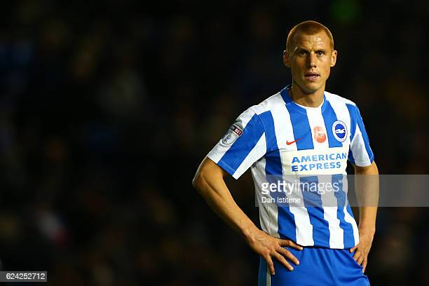 Steve Sidwell of Brighton Hove Albion reacts during the Sky Bet Championship match between Brighton Hove Albion and Aston Villa at Amex Stadium on...
