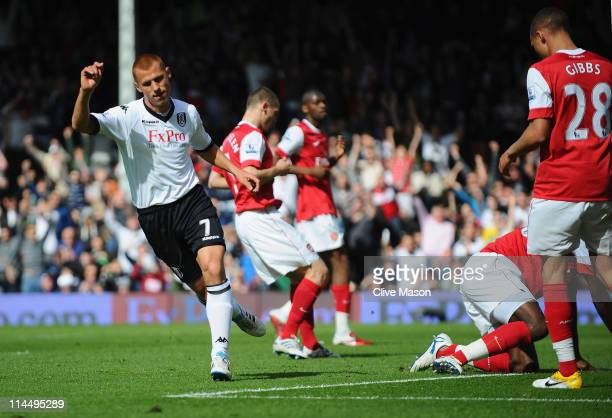 Steve Sidwell of Fulham celebrates his goal during the Barclays Premier League match between Fulham and Arsenal at Craven Cottage on May 22 2011 in...